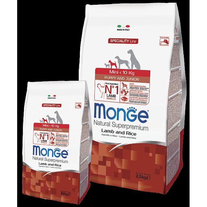 Корм Monge Dog Speciality Mini для щенков мелких пород ягненок с рисом и картофелем, 800 г