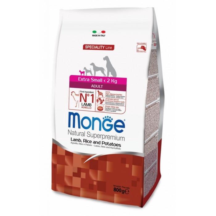 Корм Monge Dog Speciality Extra Small для взрослых собак миниатюрных пород ягненок с рисом и картофелем, 800 г