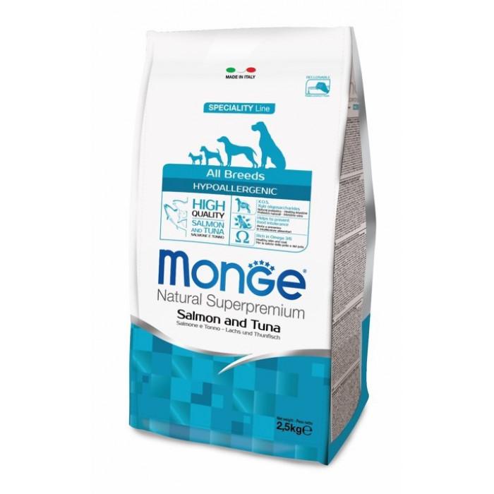 Корм Monge Dog Speciality Hypoallergenic для собак гипоаллергенный лосось с тунцом, 2.5 кг