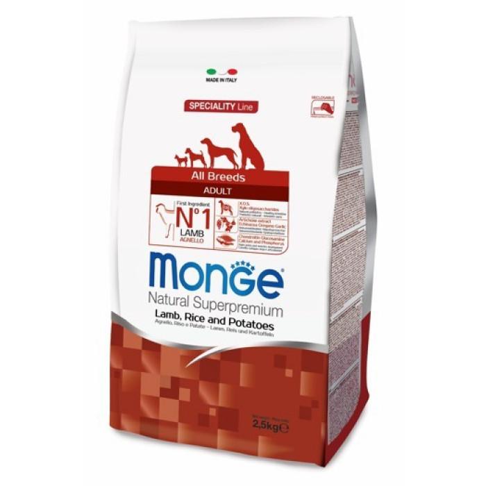 Корм Monge Dog Speciality для собак всех пород ягненок с рисом и картофелем, 2.5 кг
