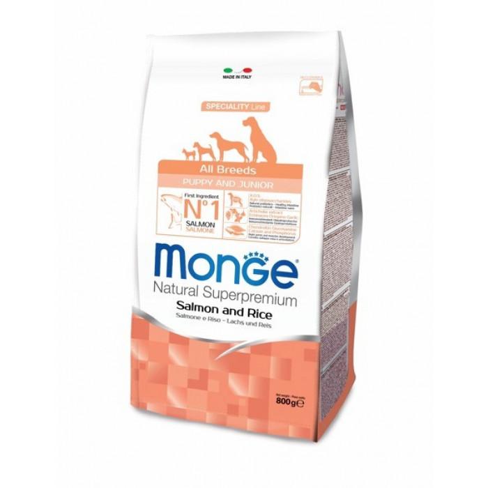 Корм Monge Dog Speciality Puppy&Junior для щенков всех пород лосось с рисом, 800 г