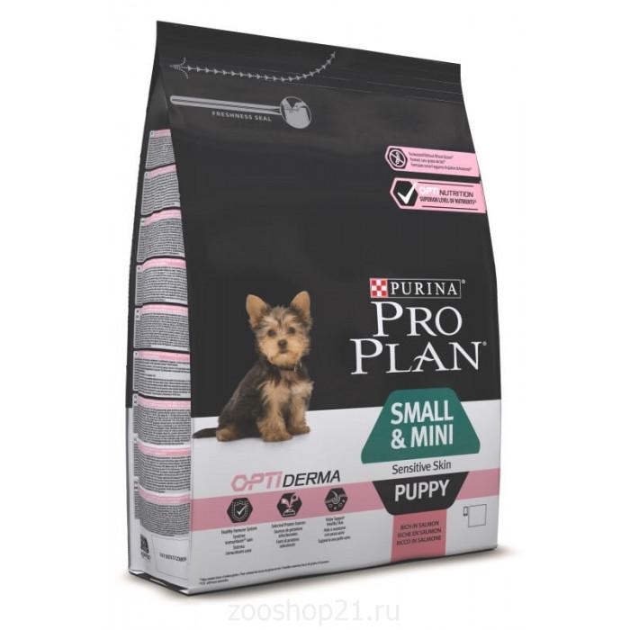 Корм Pro Plan Puppy Small and Mini Sensitive Skin для щенков мелких и карликовых пород с чувствительной кожей с лососем, 3 кг