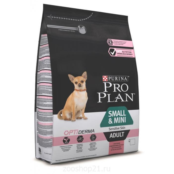 Корм Pro Plan Small and Mini Sensitive Skin для собак мелких и карликовых пород до 10 кг с чувствительной кожей с лососем, 3 кг