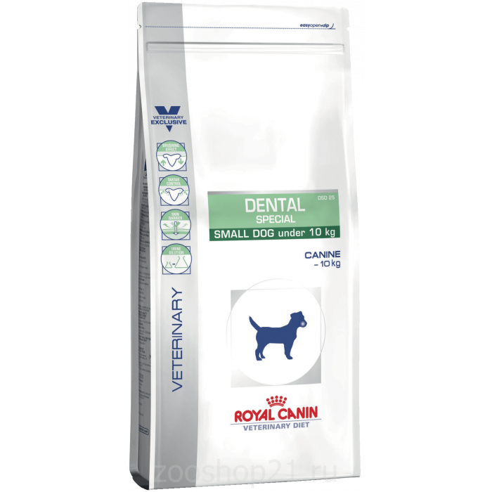 Корм Royal Canin Dental Special Small Dog DSD 25 Canin для собак до 10 кг для гигиены полости рта и чистки зубов, 2 кг