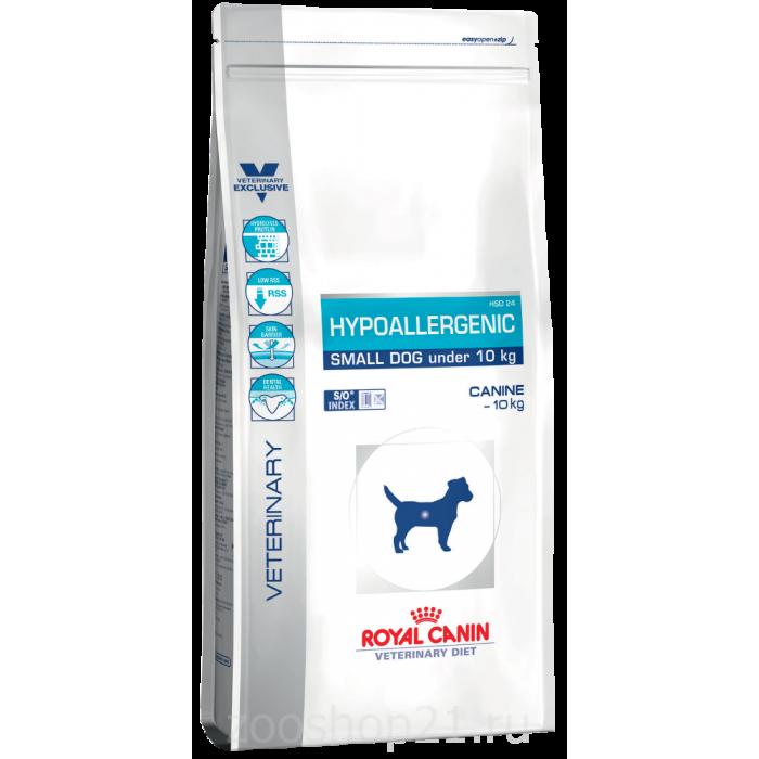 Корм Royal Canin Hypoallergenic Small Dog для собак менее 10 кг с пищевой аллергией/непереносимость, 1 кг