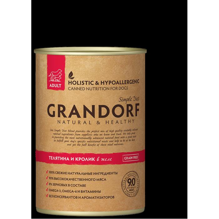 Корм GRANDORF консервы для собак с телятиной и кроликом, 400 г