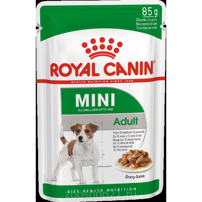 Корм Royal Canin Mini Adult (в соусе) для собак малых пород (до 10 кг), 10 мес. - 12 лет, 85 г