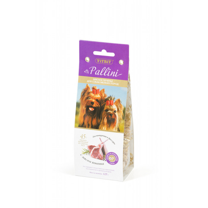 Лакомство для собак Titbit Печенье Pallini с ягненком, 125 г