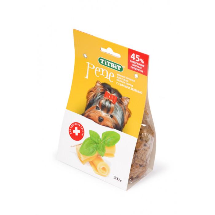 Лакомство для собак мелких пород TiTBiT Печенье PENE с сыром и зеленью, 200 г
