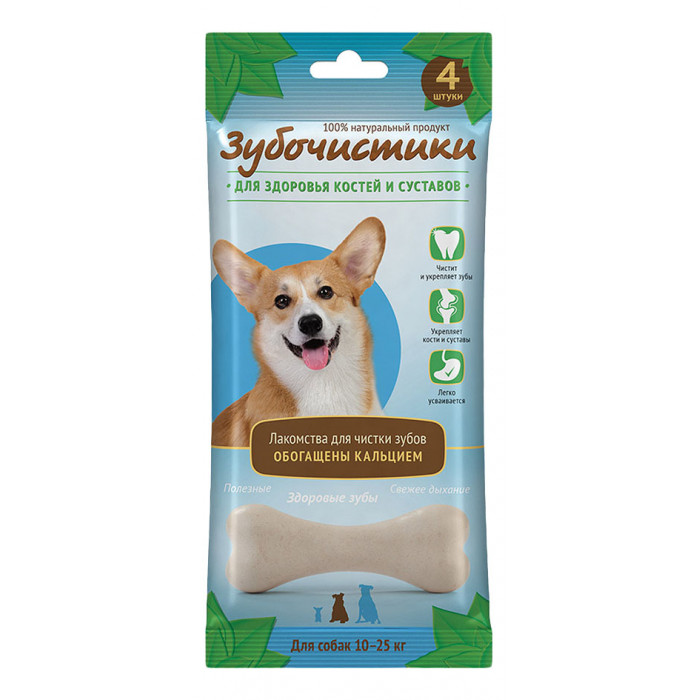 """Лакомство """"Зубочистики"""" для собак средних пород, для здоровья костей и суставов, 4 шт"""