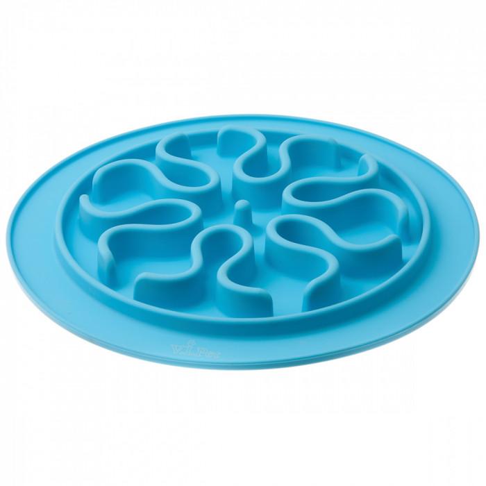Миска силиконовая рельефная (волны) игровая для медленного поедания корма (ГОЛУБАЯ) 24 см