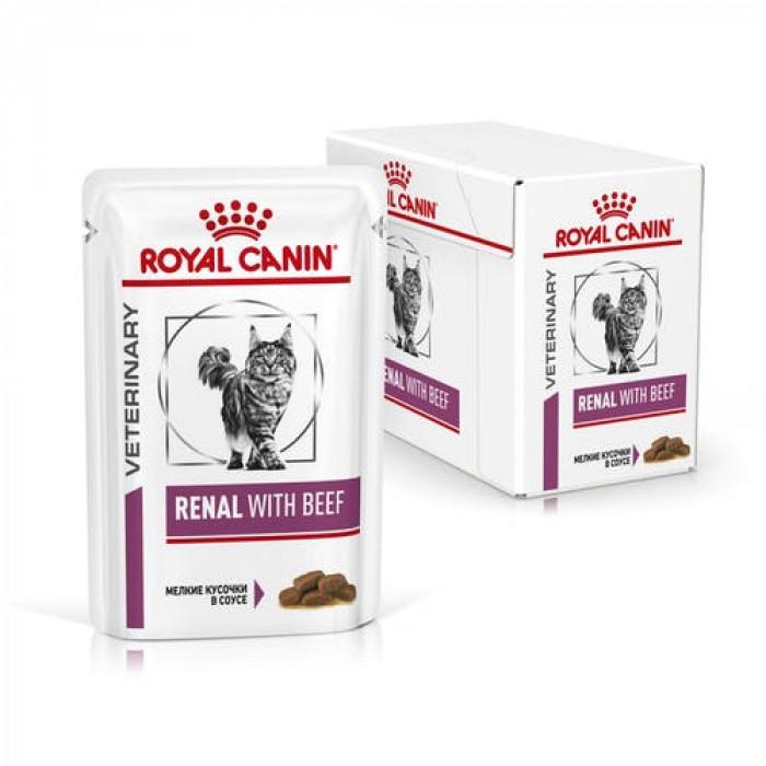 Корм Royal Canin Renal Beef (в соусе) для кошек при лечении почек, c говядиной 85 г