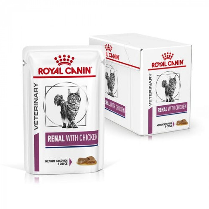 Корм Royal Canin Renal Chicken (в соусе) для кошек при лечении почек, c курицей 85 г