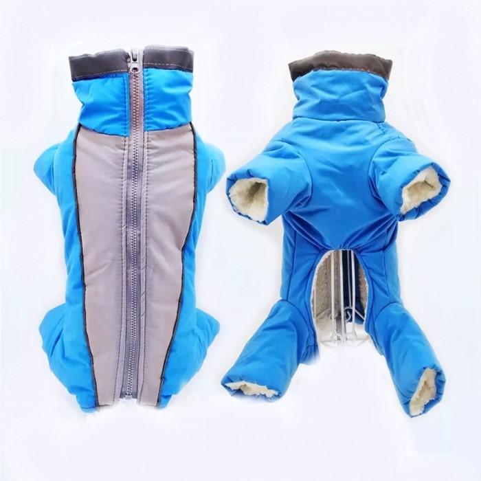 Комбинезон зимний, цвет серо-голубой, размер L (длина спины 32 см)
