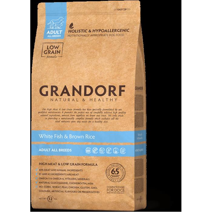 Корм Grandorf Adult All Breeds для собак всех пород (низкое содержание зерна), белая рыба с рисом, 1 кг