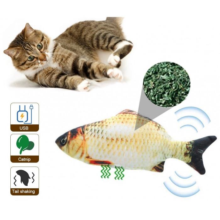 """Электронная игрушка для кошек в виде рыбки """"Карась"""" с кошачьей мятой, USB-зарядкой в комплекте, 30х11 см"""