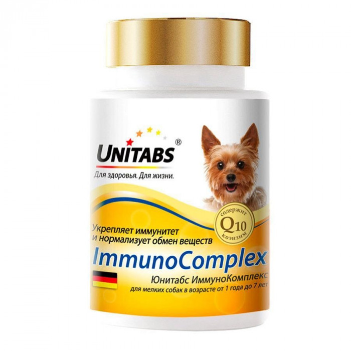 Юнитабс Иммунокомплекс с Q10 для мелких собак, 100 таблеток